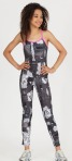 Black newspaper print Tank   Pull on pant with knee stitching detail-