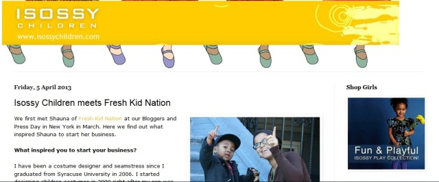 Isossy Children meets Shauna the founding editor of Fresh Kid Nation