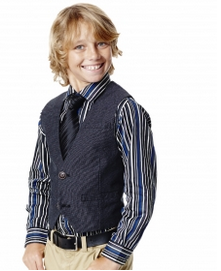 Dressy Vest paired with Dressy Striped Shirt